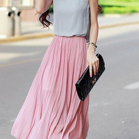 Scoop Neck Chiffon Midi Dress