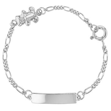 925 Sterling Silver Little Teddy Bear Tag ID Identification Bracelet for Baby 5""