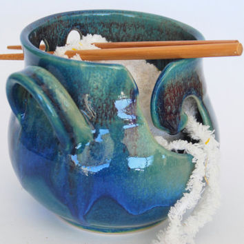 Blue and Green Ceramic Yarn bowl- Medium Yarn Bowl / Knitting Bowl - IN STOCK - Ready to Ship - Purple, blue and green Glaze