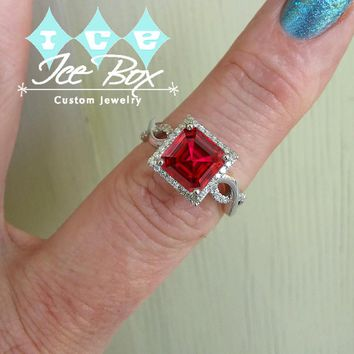 Ruby Engagement Ring 3.6ct, 8mm Emerald Cut Pigeon Blood Ruby set in a 14k White Gold Diamond Halo Twist Shank Setting