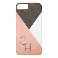 Modern Elegant Blush Pink Leather Initials iPhone 8/7 Case
