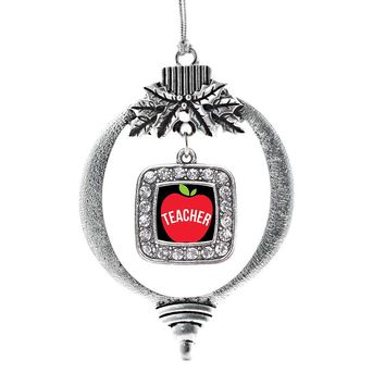 Apples Are For Teachers Square Charm Holiday Ornament