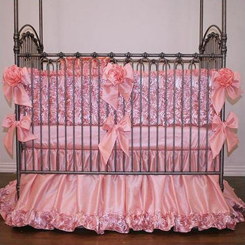 Rose Dior Crib Bedding | Dusty Pink Roses Baby Bedding