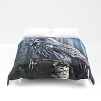 OWL IN THE FOREST Duvet Cover by Digital Effects