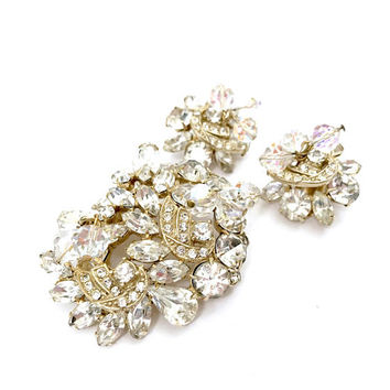 Kramer Floral Rhinestone Demi Parure, Clear Multi-Cut Rhinestones, Crystal Bead Dangles, Gold Tone, Wedding, Signed, Vintage Gift for Her