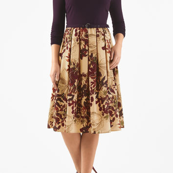 Floral print belted mixed media dress