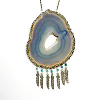 Statement Necklace // Dreamweaver. Sky Blue Agate Geode Turquoise Stone & Feather Necklace. One of a kind.