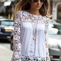 White Floral Crochet Lace Long Sleeve Chiffon Top