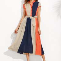 Color Block Tie-Waist Button-Up Midi Dress