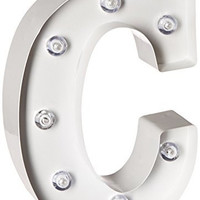 Darice Metal Letter C Marquee Light Up, White