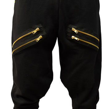 BLACK DOUBLE ZIP - Chachi Pants