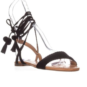 I35 Ganice2 Two-Piece Lace-Up Sandals, Black, 9 US