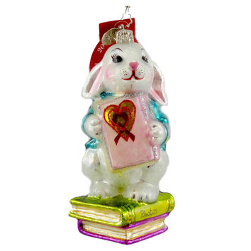 Christopher Radko A SHY RABBITS HEART Blown Glass Ornament Bunny Charity