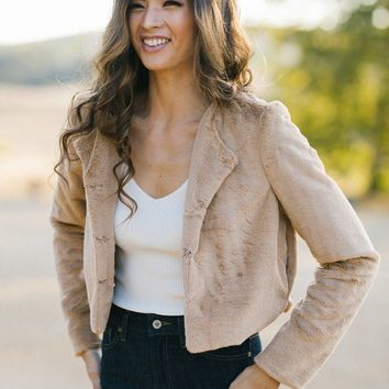 Etta Camel Faux Fur Jacket