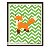 Fox Nursery  Print //  Baby Boy or Girl Nursery Prints // Fox Room Decor // Fox Prints // Chevron Fox Print