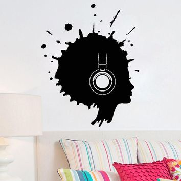 Music Headphones Decals Blot Woman Silhouette Wall Art Stickers Removable Home Decor Living Room ZS127