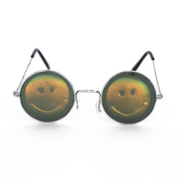 Smiley Face Holographic Hologram Smile Lennon Sunglasses eyewear ying yang 90s nineties