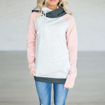 Pink Color Block stitching hoodies