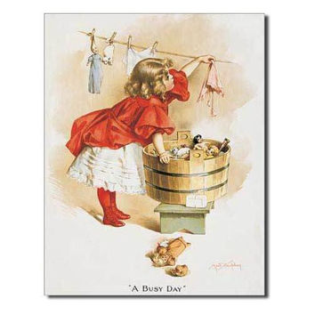 Tin Sign : Ivory Soap Girl Washing