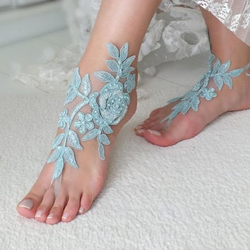 Beach Wedding barefoot sandals wedding barefoot something blue lace sandals Bridal anklet foot jewelry Wedding sandals Bridal Gift