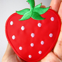 1 Dollar Shipping - Iron On Patch - Strawberry Patch / Applique