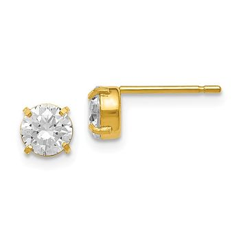 Leslies 14K Cz Stud-5.0mm Earrings