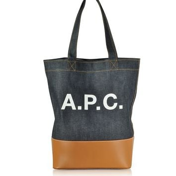 A.P.C. Axel Denim and Leather Tote Bag