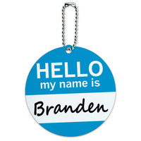 Branden Hello My Name Is Round ID Card Luggage Tag
