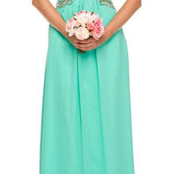 Studded Corset Bodice Long Strapless Jade Formal Dress