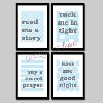 Kiss Me Goodnight - Set of 4 Printable Files - Nursery Decor