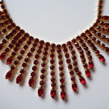 Glistening Vintage Navette Marquise Round Cut Ruby Red Colored Crystal Rhinestone Waterfall Fringe Necklace Gold Tone Metal Setting Gorgeous