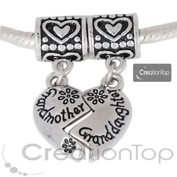 Charm for any Pandora bracelet, Dangle bead, heart shape dangle charm with grandmother and granddaughter stamped