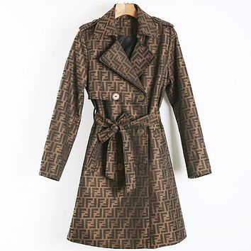 FENDI Autumn Winter New Fashion Women Retro F Letter Jacquard Cardigan Jacket Coat