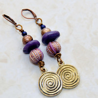 Tribal Gypsy - Afro Gypsy Earrings - Hippie Earrings - Amethyst Earrings - Purple Earrings - Boho Jewelry - Hippie Jewelry - Coin Earrings