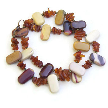 Chunky Colorful Mookite Baltic Amber Necklace, Bohemian OOAK Unique, Natural Semiprecious Stone Jewelry, ALFAdesigns