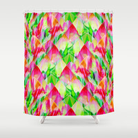 Tulip Fields #119 Shower Curtain by Gréta Thórsdóttir  #floral #tulips #pattern #recycle #abstract #Genus #Tulipa #bathroom