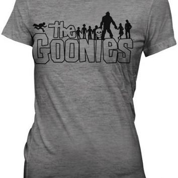 The Goonies Retro Movie Outline Logo Ash Grey Juniors T-shirt - The Goonies - | TV Store Online