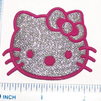 ULTRA IRON ON embroidered Silver Sparkle pink bow pink nose Hello Kitty 2 1/2 in. across