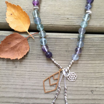 Fluorite Gemstone Silver, Canadian Made, Earth Jewelry, 108 Mala Beads, Yoga and Meditation Jewelry, Bohemian Necklace, Healing Crystals