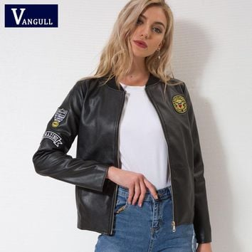 Vangull Leather jacket New women Autumn Winter Faux Leather Jackets Lady Brand design Motorcycle Style black Trench Female Coat