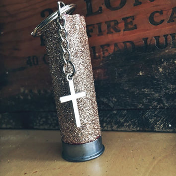 Cowgirl Rose Gold Glitter Cross 12 gauge Shotgun Shell Country Keychain