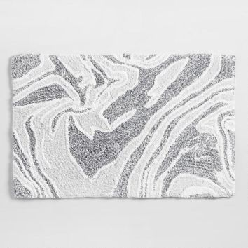 Gray Marble Tufted Bath Mat