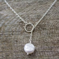 Sterling Silver Pearl Lariat - Coin Pearl, Bridal Jewelry, Bridesmaid Jewelry, Fine Jewelry