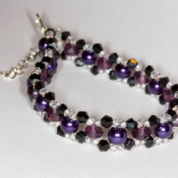 Crystal glass purple beaded bracelet