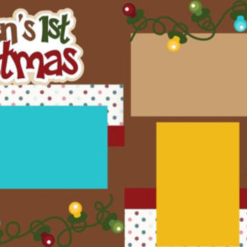Personalized 12X12 Premade Scrapbook Layout or Kit //Baby's 1st Christmas//First Christmas//You add Name
