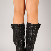 Bamboo Montage-75 Studded Leatherette Knee High Boot