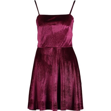 Burgundy Velvet Skater Dress - Occasion Dresses - Occasionwear - Women - TK Maxx