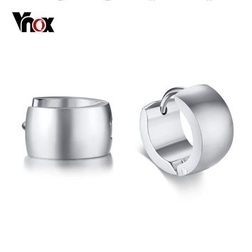 Vnox Classic Simple Small Hoop Earrings for Women Men Stainless Steel 3 Tones Option Basic Unisex Accessories