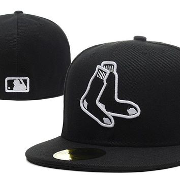 Boston Red Sox New Era MLB Authentic Collection 59FIFTY Hat Black-White