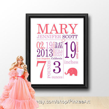 Baby stats elephant, custom baby subway art, personalized birth details, date of birth, gift for new parents, nursery birth print baby stats